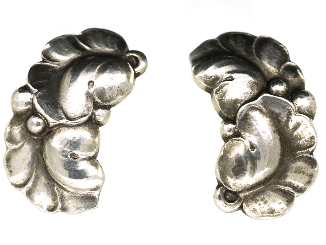 Georg Jensen Silver Double Leaf Earrings