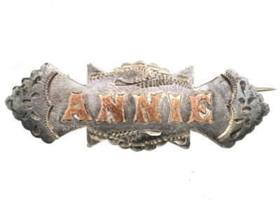 Victorian Silver & Gold Overlay Name Brooch Annie