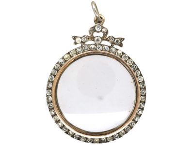 Edwardian Large Silver & Paste Locket Pendant