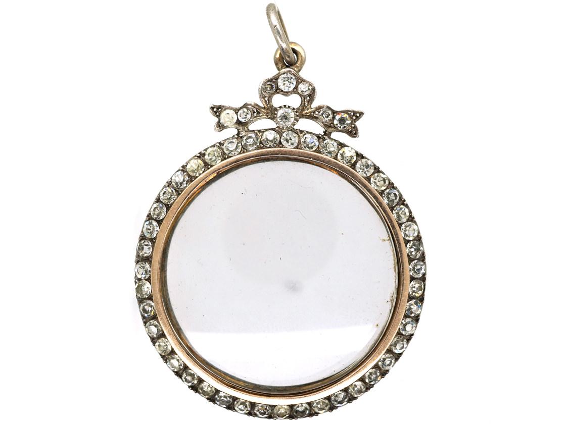 Edwardian Large Silver & Paste Locket Pendant