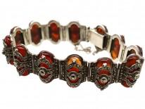 Art Deco Silver, Carnelian & Marcasite Bracelet