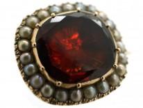 Georgian 9ct Gold & Flat Cut Garnet Lace Brooch