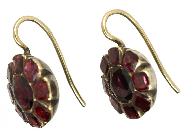 Georgian Flat Cut Garnet Round Earrings