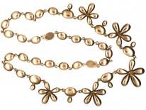Georgian Gold & Flat Cut Garnet Pansy Necklace