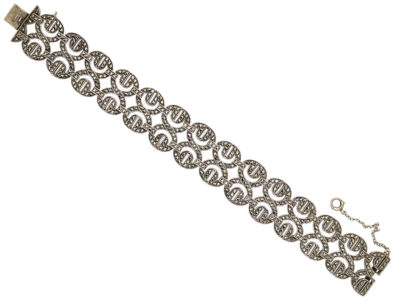 Art Deco Silver & Marcasite Figure of Eight Design Bracelet