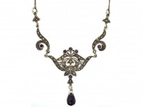 Silver, Marcasite & Amethyst Necklace