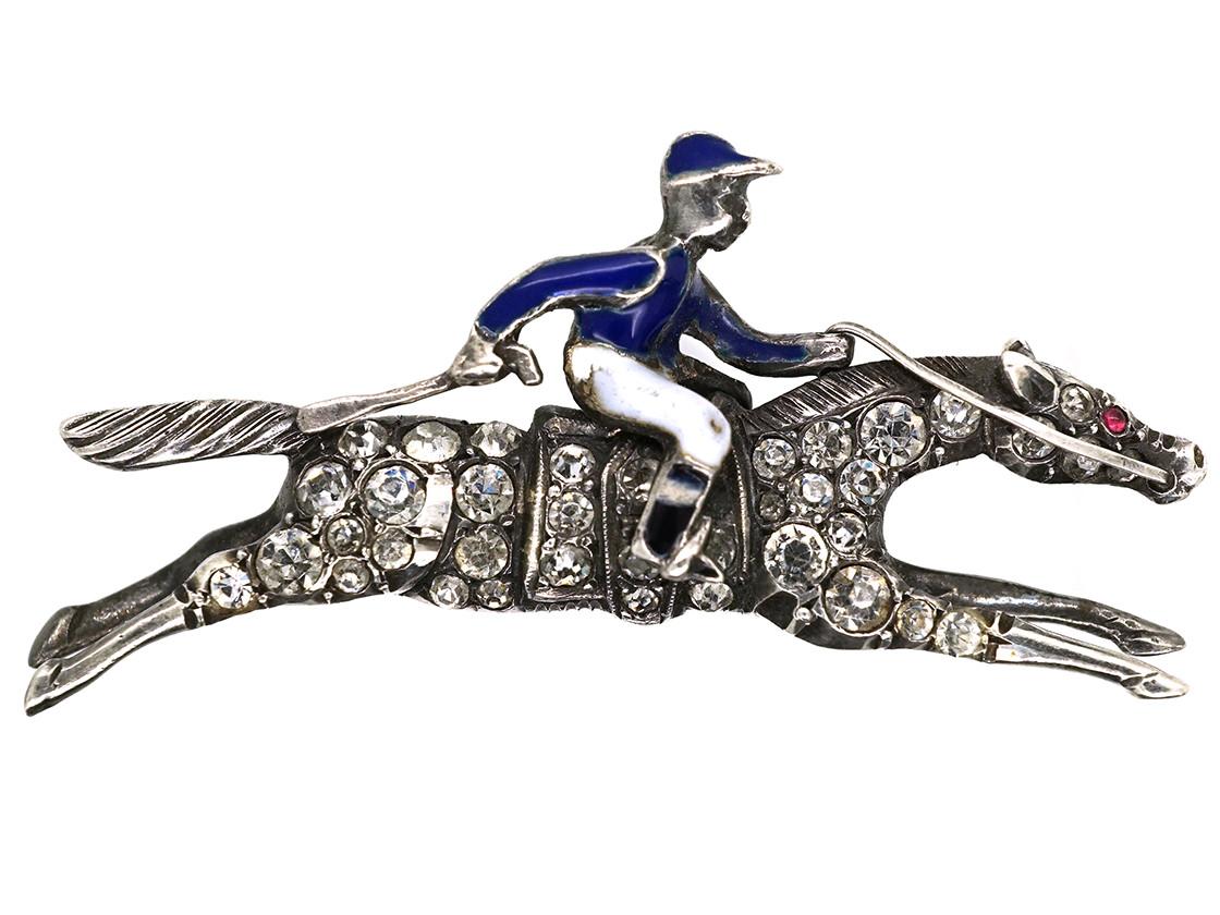 Silver, Enamel & Paste Racehorse & Jockey Brooch