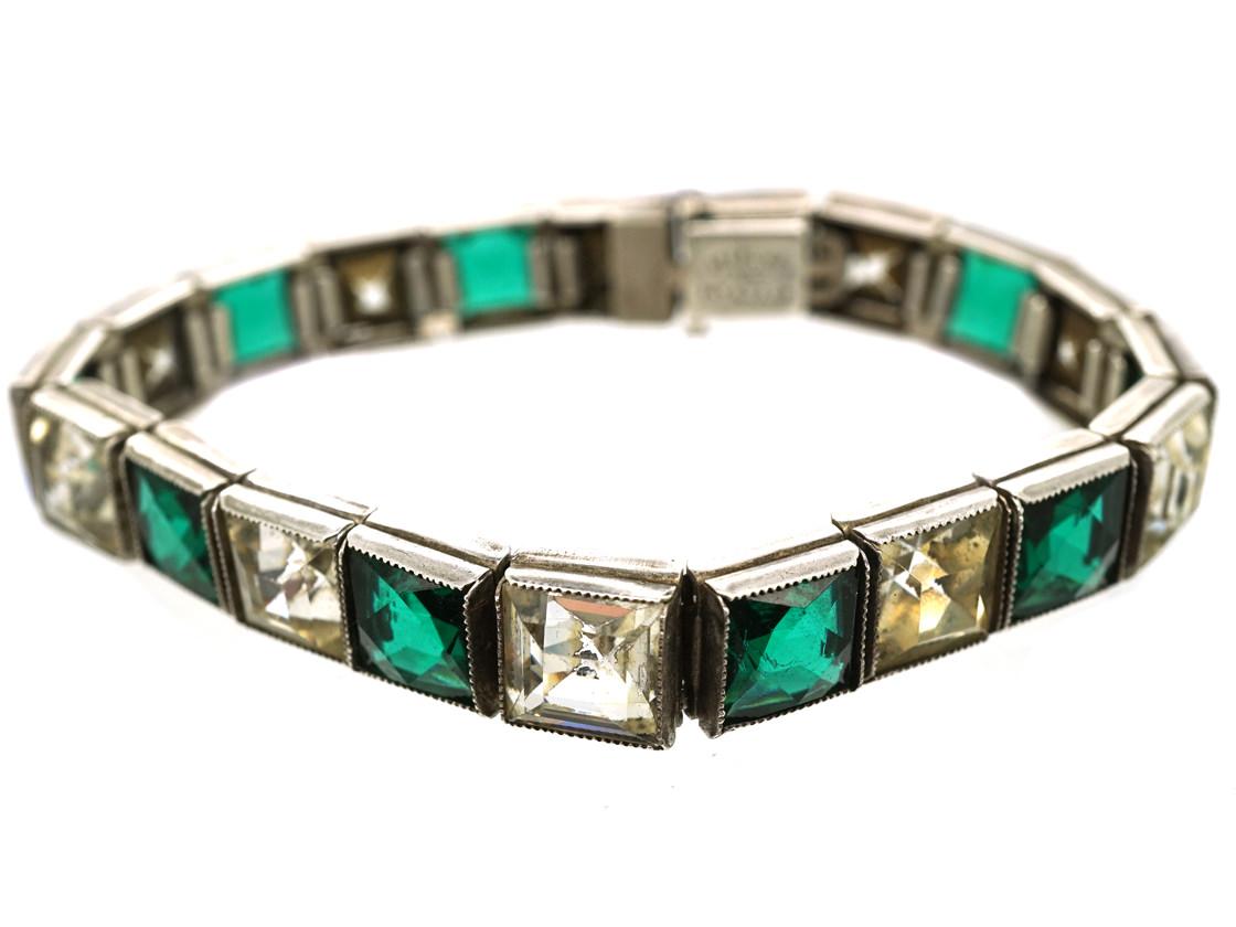 Art Deco Silver & Green & White Paste Bracelet
