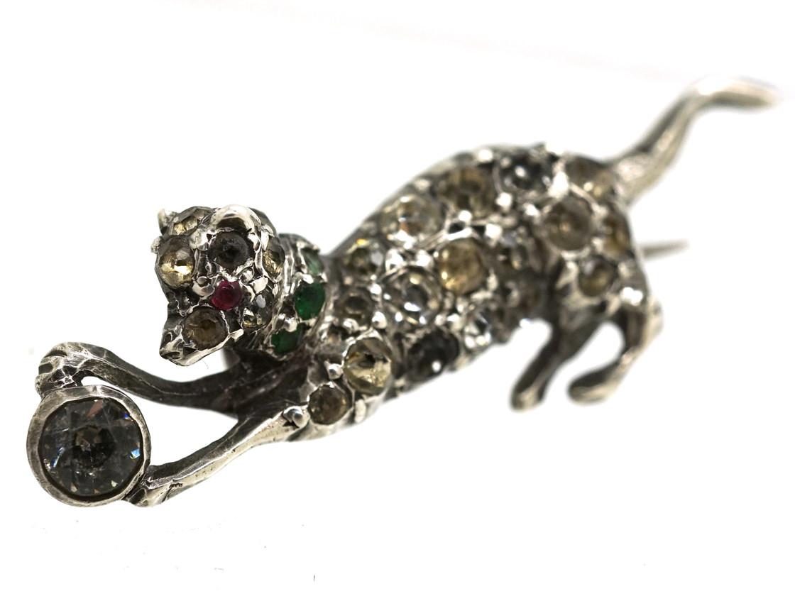 Edwardian Silver & Paste Terrier & Ball Brooch