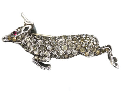 Edwardian Silver & Paste Leaping Hind Brooch
