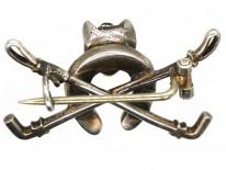 Silver & Paste Fox Head, Whips & Horseshoe Brooch
