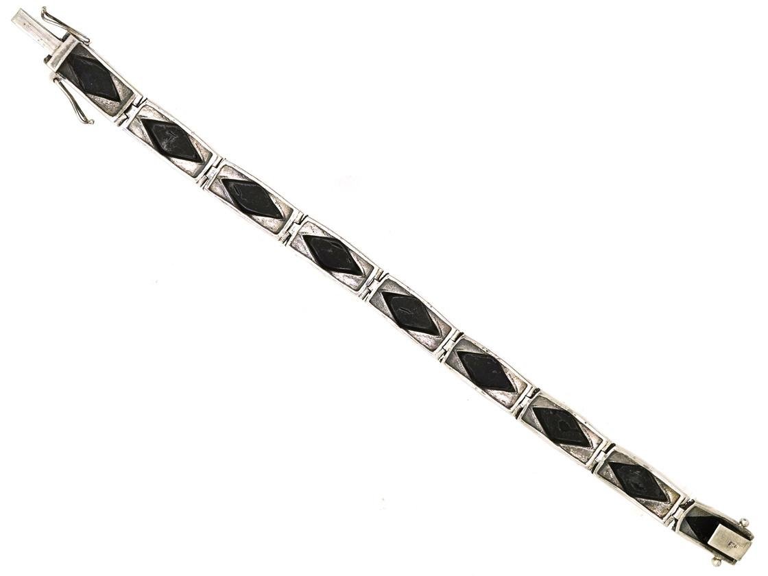 Art Deco Silver, Onyx & Marcasite Diamond Pattern Bracelet