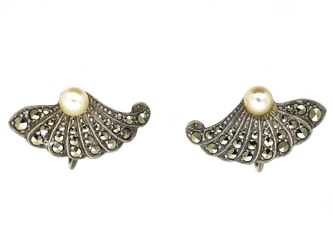 Art Deco Silver, Marcasite & Pearl Fan Shaped Earrings