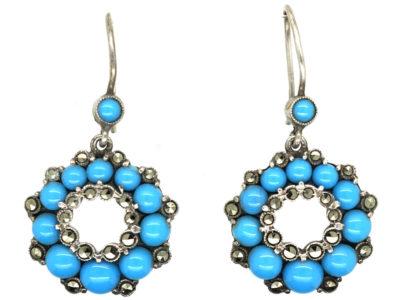 Silver, Marcasite & Blue Glass Drop Cluster Earrings