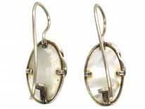 Silver, Marcasite & Mother of Pearl Oval Earrings