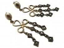 Silver & Marcasite Triple Drop Earrings