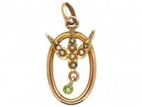 Edwardian 9ct Gold, Split Pearl & Peridot Tiny Pendant of a Swallow