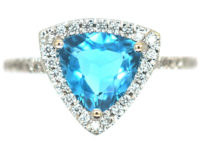 18ct White Gold Triangular Zircon & Diamond Ring