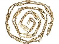 Early Victorian 9ct Gold Lantern Link Guard Chain