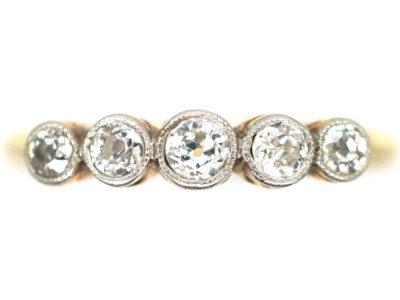 Edwardian 18ct Gold, Platinum & Five Stone Diamond Ring