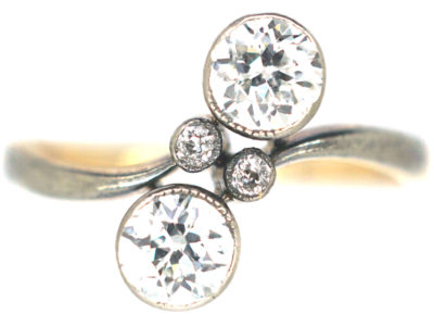 Art Nouveau 18ct Gold, Platinum & Two Stone Diamond Crossover Ring