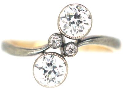 Art Nouveau 18ct Gold, Platinum & Two Stone Diamond Crossover Ring