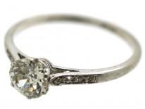 Art Deco Platinum & Solitaire Diamond Ring With Diamond Set Shoulders