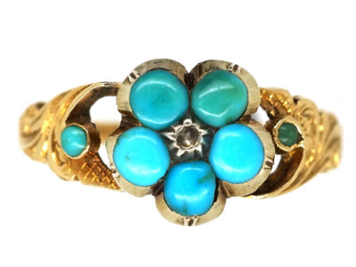 Regency 15ct Gold & Turquoise Forget Me Not Ring