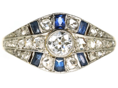 French Art Deco Sapphire & Diamond Ring