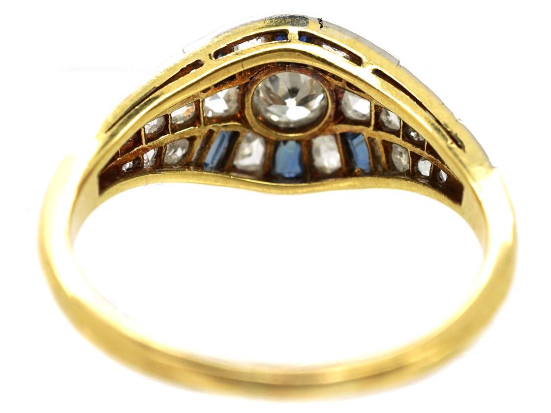 French Art Deco Sapphire & Diamond Ring