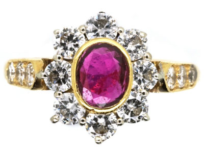 18ct Gold Ruby & Diamond Cluster Ring With Diamond Shoulders