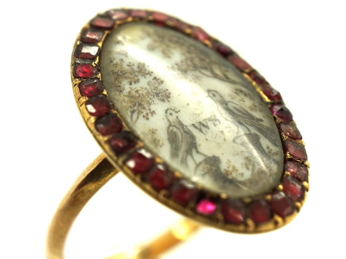 Georgian Gold Memorial Ring With Two Doves