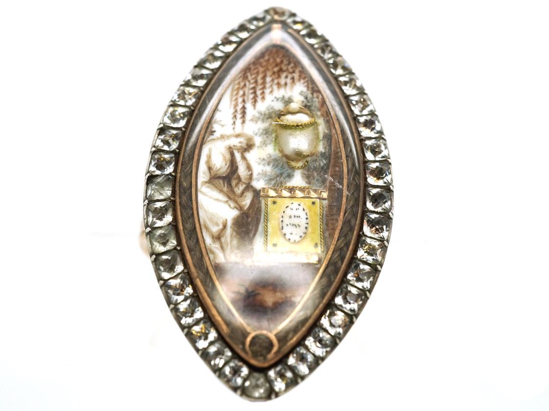 Georgian Navette Shaped Mourning Ring