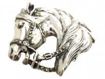 Silver & Marcasite Horse Head Brooch