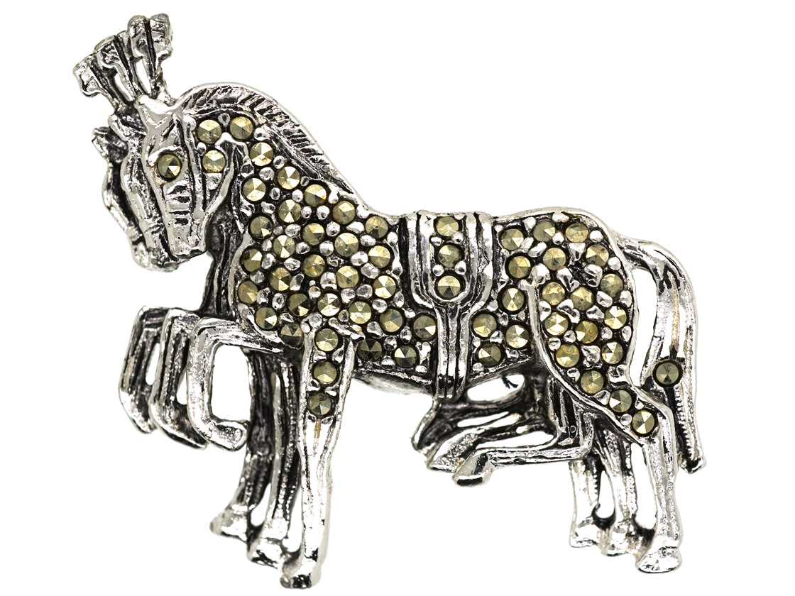 Silver & Marcasite Three Circus Horse's Brooch
