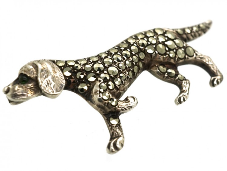 Silver & Marcasite Hunting Dog Brooch