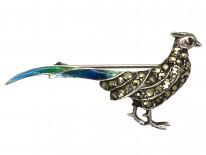 Silver, Enamel & Marcasite Pheasant Brooch
