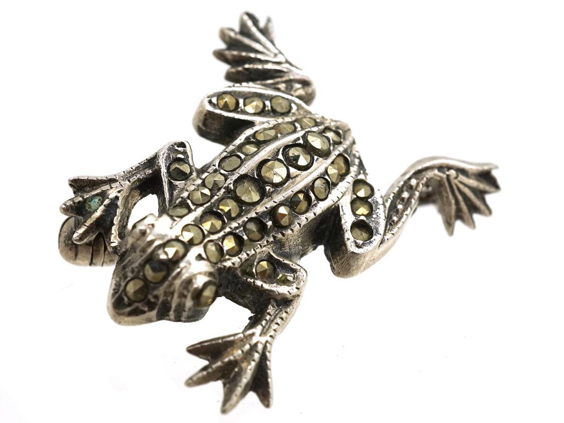 Silver & Marcasite Frog Brooch