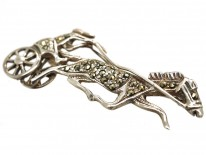 Silver & Marcasite Trotting Horse & Carriage Brooch