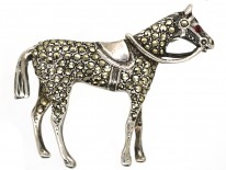Silver & Marcasite Racehorse Brooch