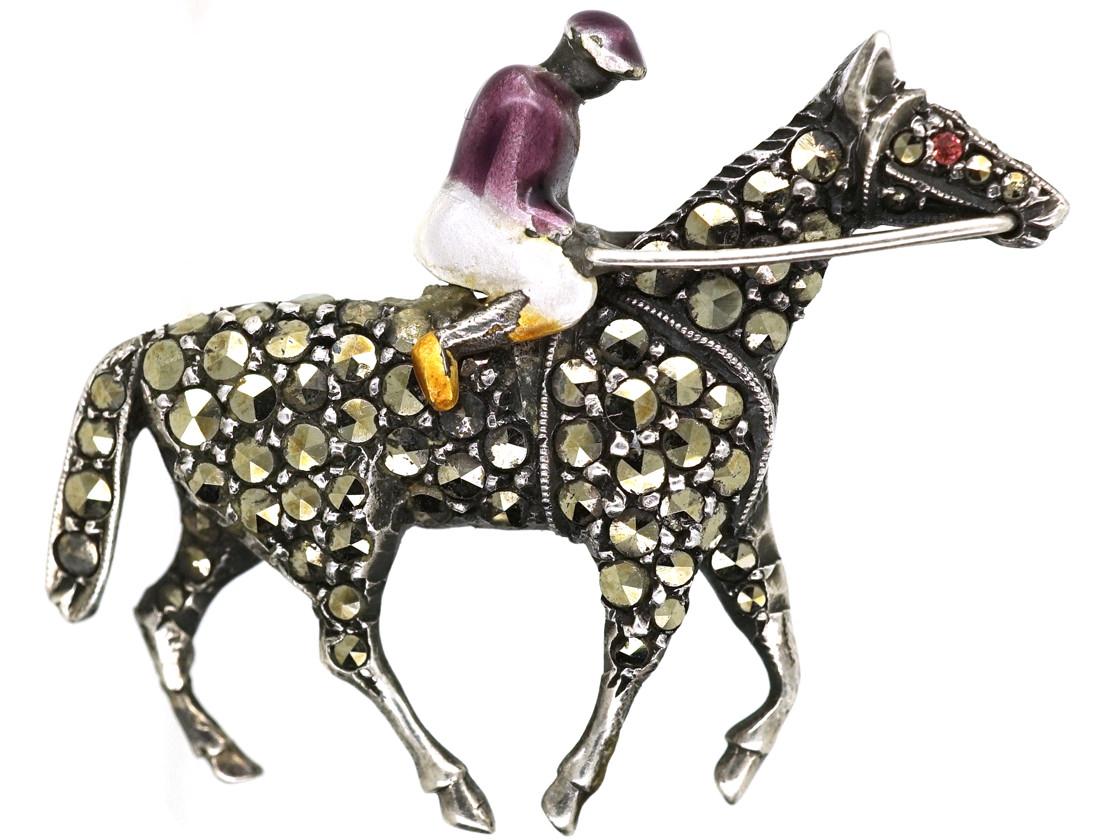 Silver & Marcasite Racehorse & Jockey Brooch