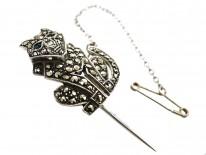 Silver, Marcasite & Paste Leopard Tie Pin