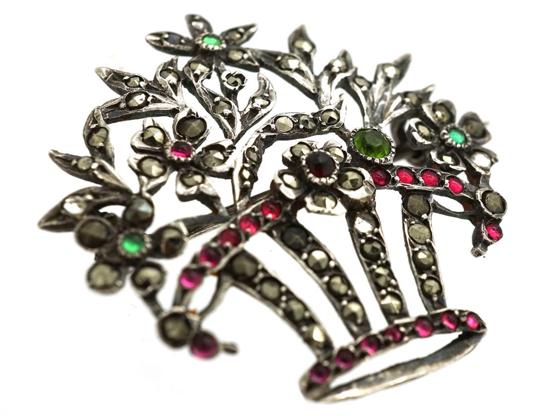 Silver, Paste & Marcasite Flower Basket Brooch