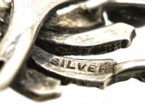 Art Deco Silver & Marcasite Leaf Brooch