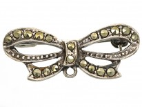 Silver & Marcasite Bow Brooch