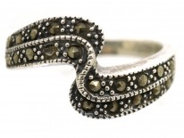 Silver & Marcasite Wave Design Ring