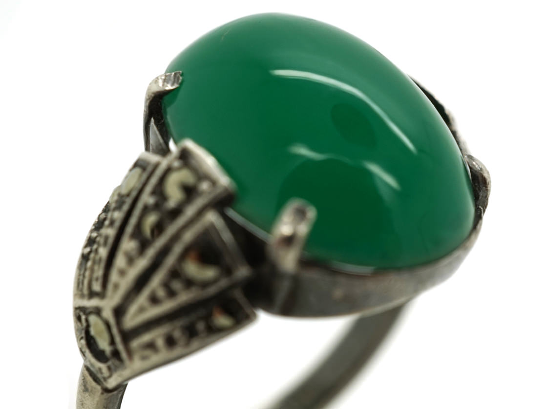 Silver, Green Chalcedony & Marcasite Art Deco Ring