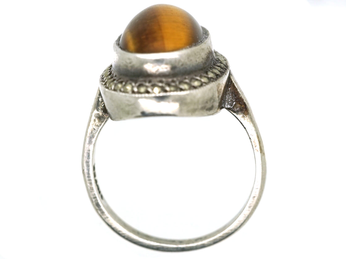Silver, Marcasite & Tiger's Eye Oval Ring