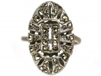 Art Deco Silver & Marcasite Oval Ring