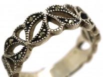 Silver & Marcasite Half Eternity Openwork Ring